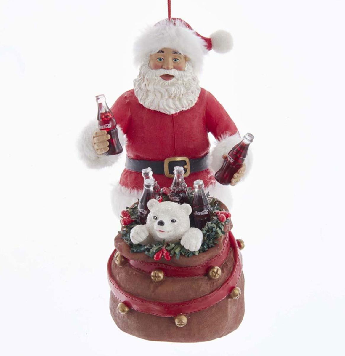 Coca-Cola Kurt S. Adler 14,6 cm Kerstman Met Ijsbeer In Zak Kersthanger