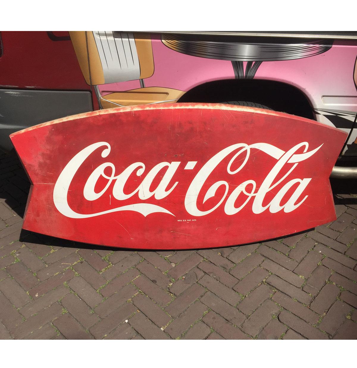 Coca-Cola Groot Fishtail Bord jaren 60 - Origineel