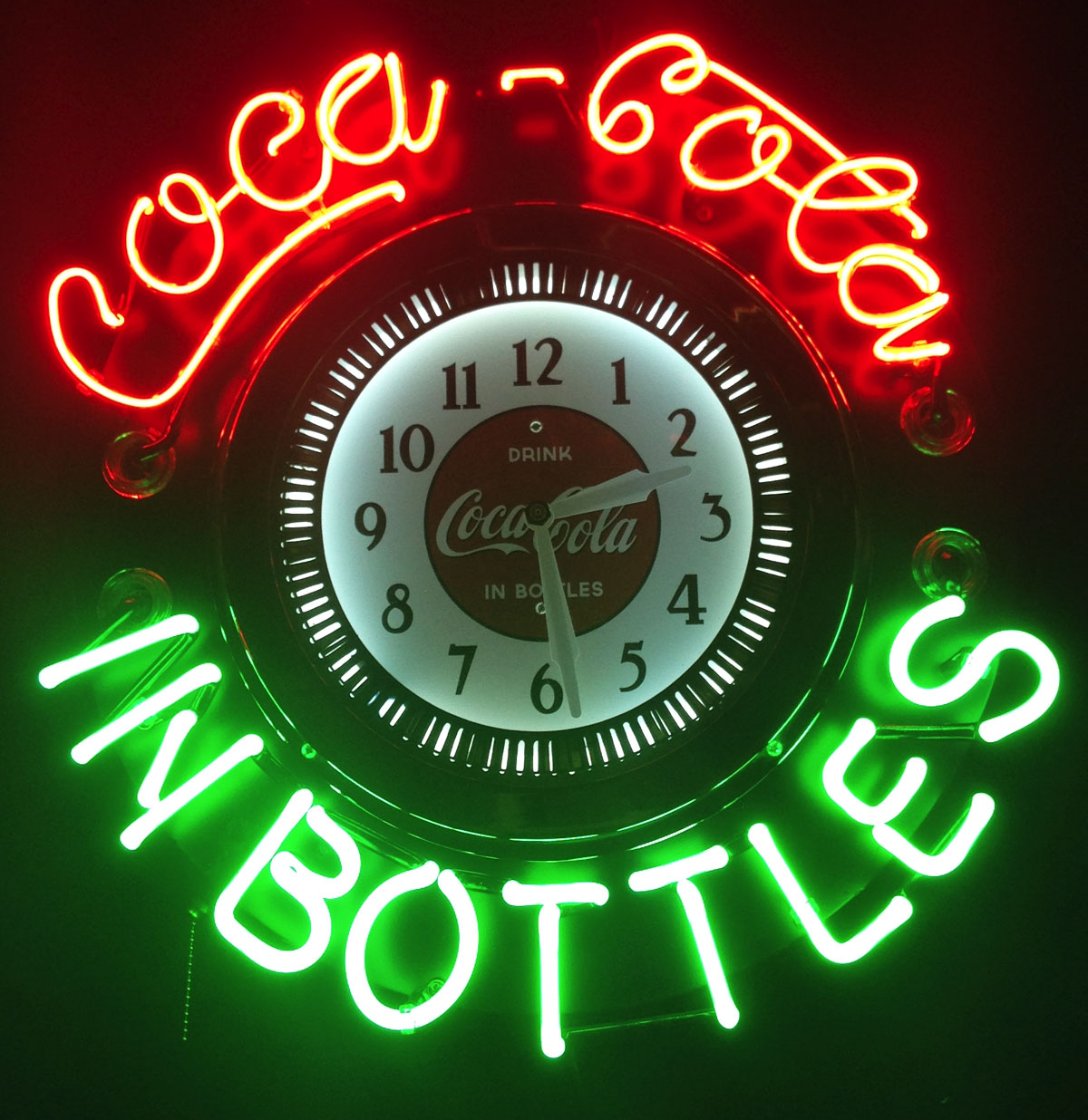 Coca-Cola in bottles Neon Klok