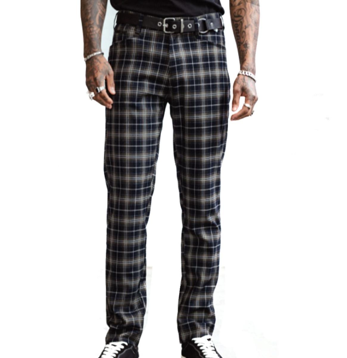 Chet Rock Chuck Skinny Trousers Tartan Green