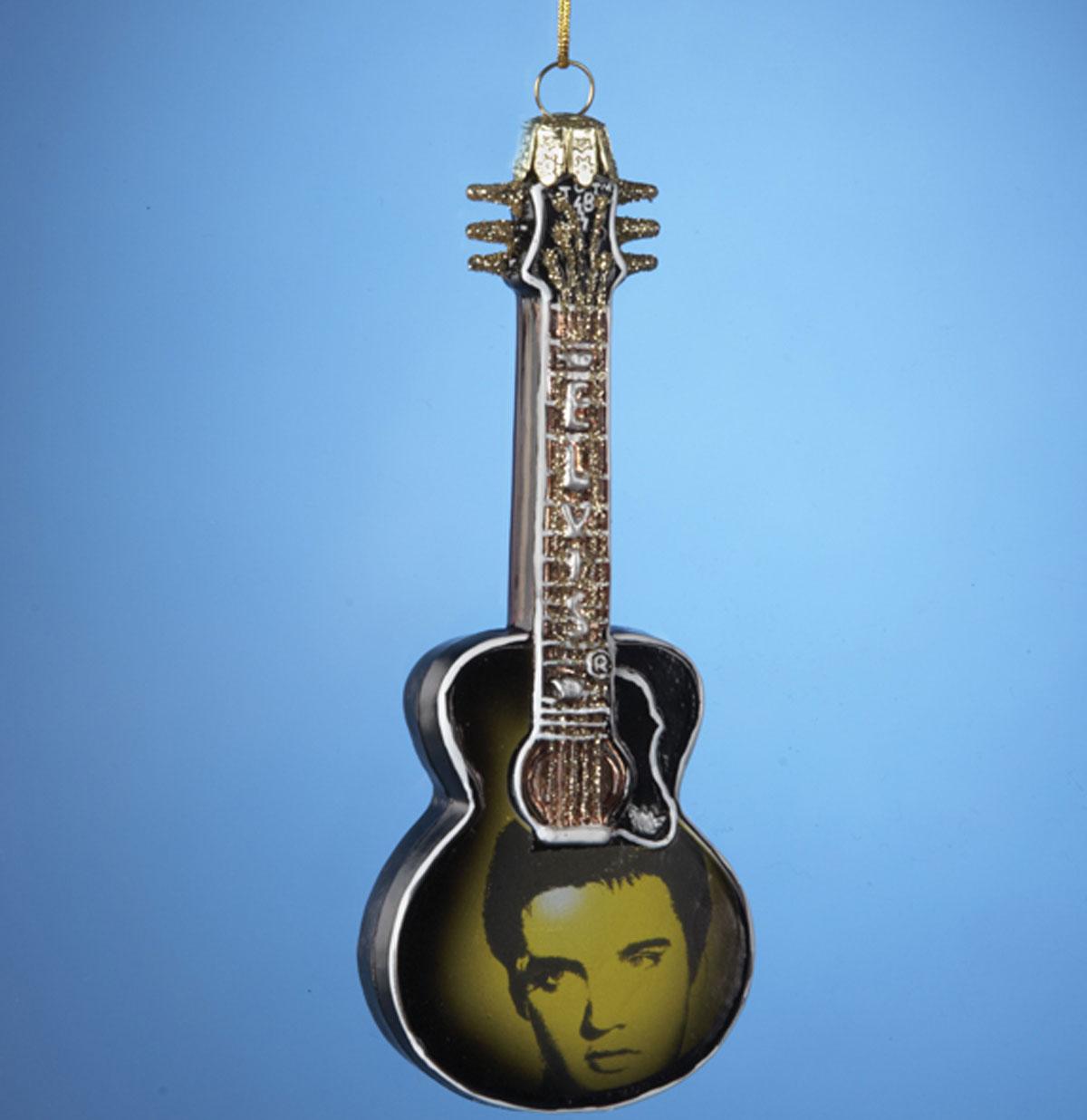 Elvis Presley Gitaar met afbeelding Kerst Hanger Glas