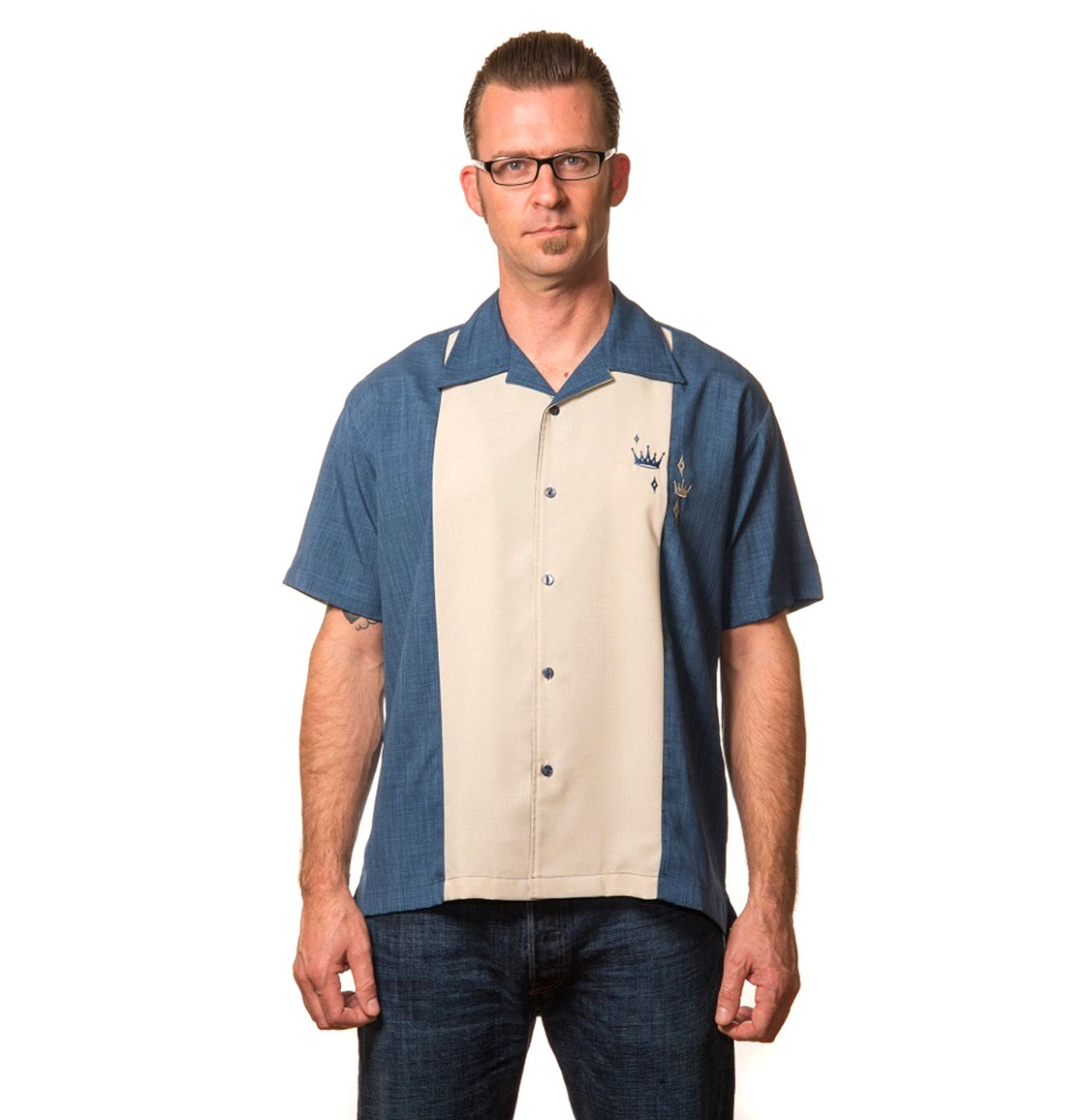 Contrast Crown Button Up Shirt Blue