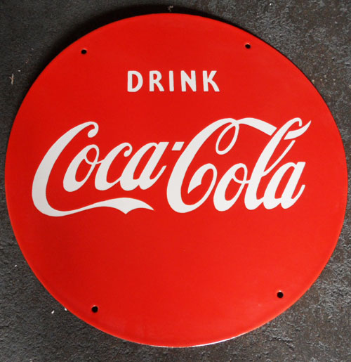 Coca-Cola Red Emaille Logobord Groot