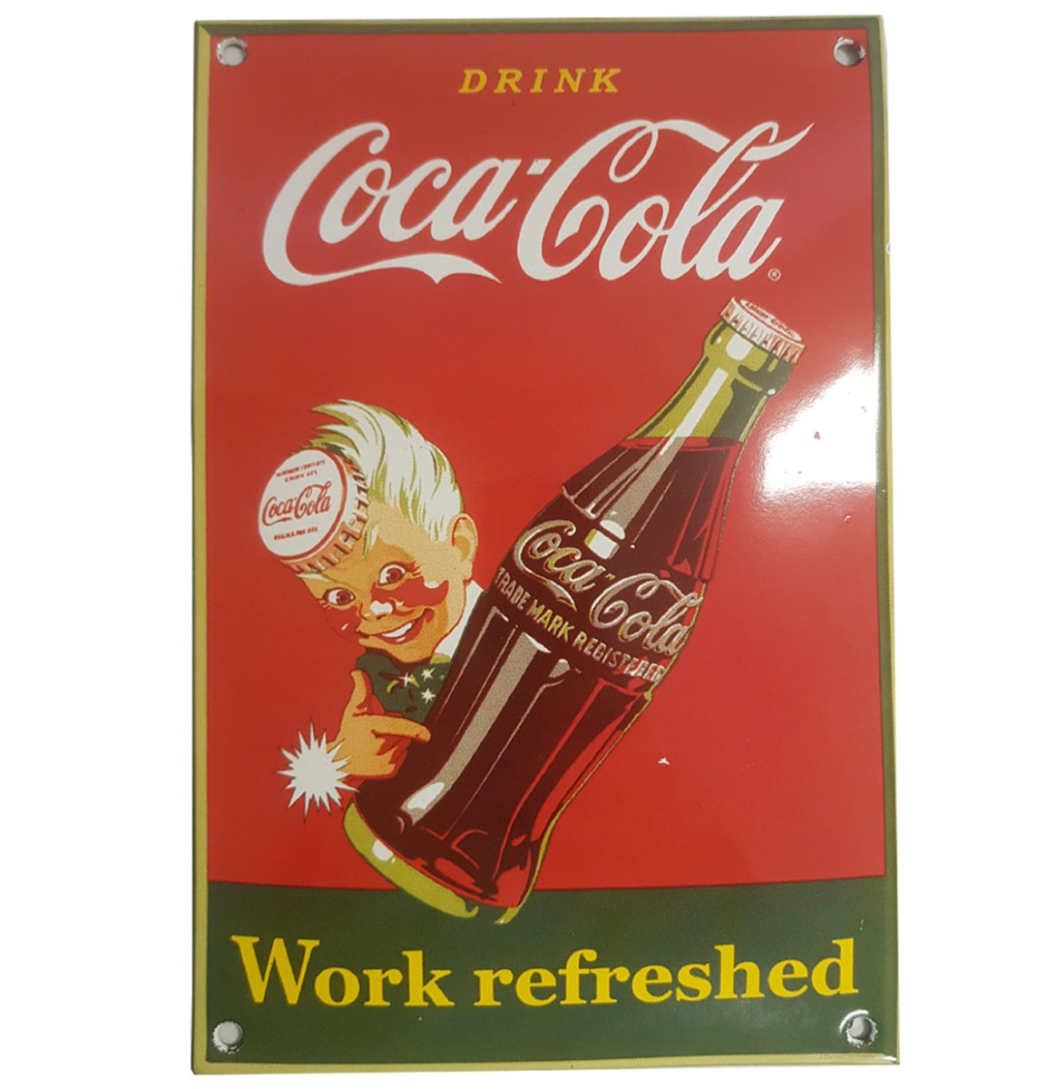 Drink Coca-Cola Work Refreshed Emaille Bord - 21 x 14 cm