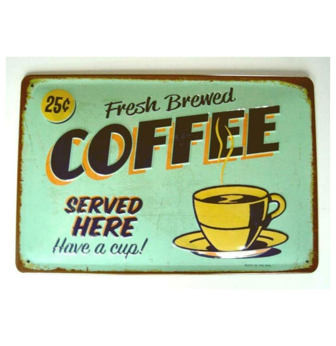 Fresh Brewed Coffee Metalen Bord 20 x 30 cm