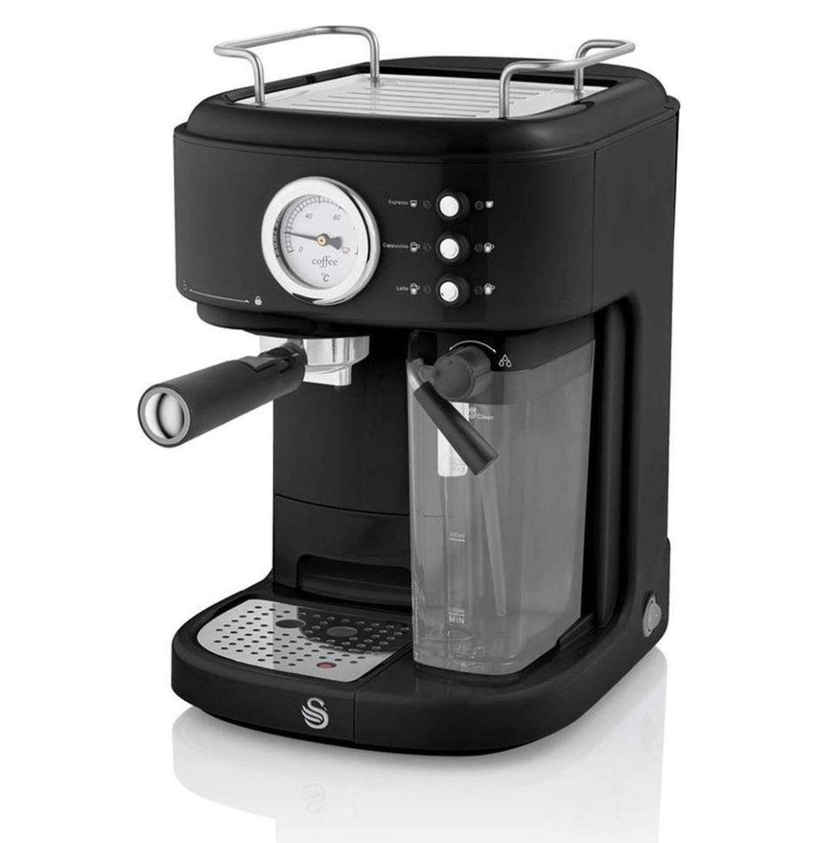 Swan One-Touch Retro Espresso Koffie Machine - Zwart