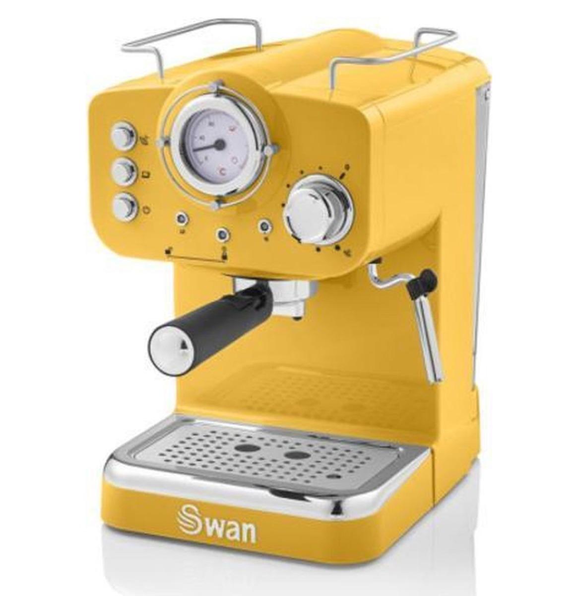 Swan Retro Pump Espresso Koffie Machine - Geel