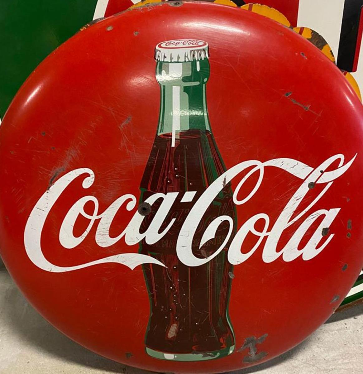 """Coca-Cola Origineel Bord Button Sign 48"""" / 122 cm"""