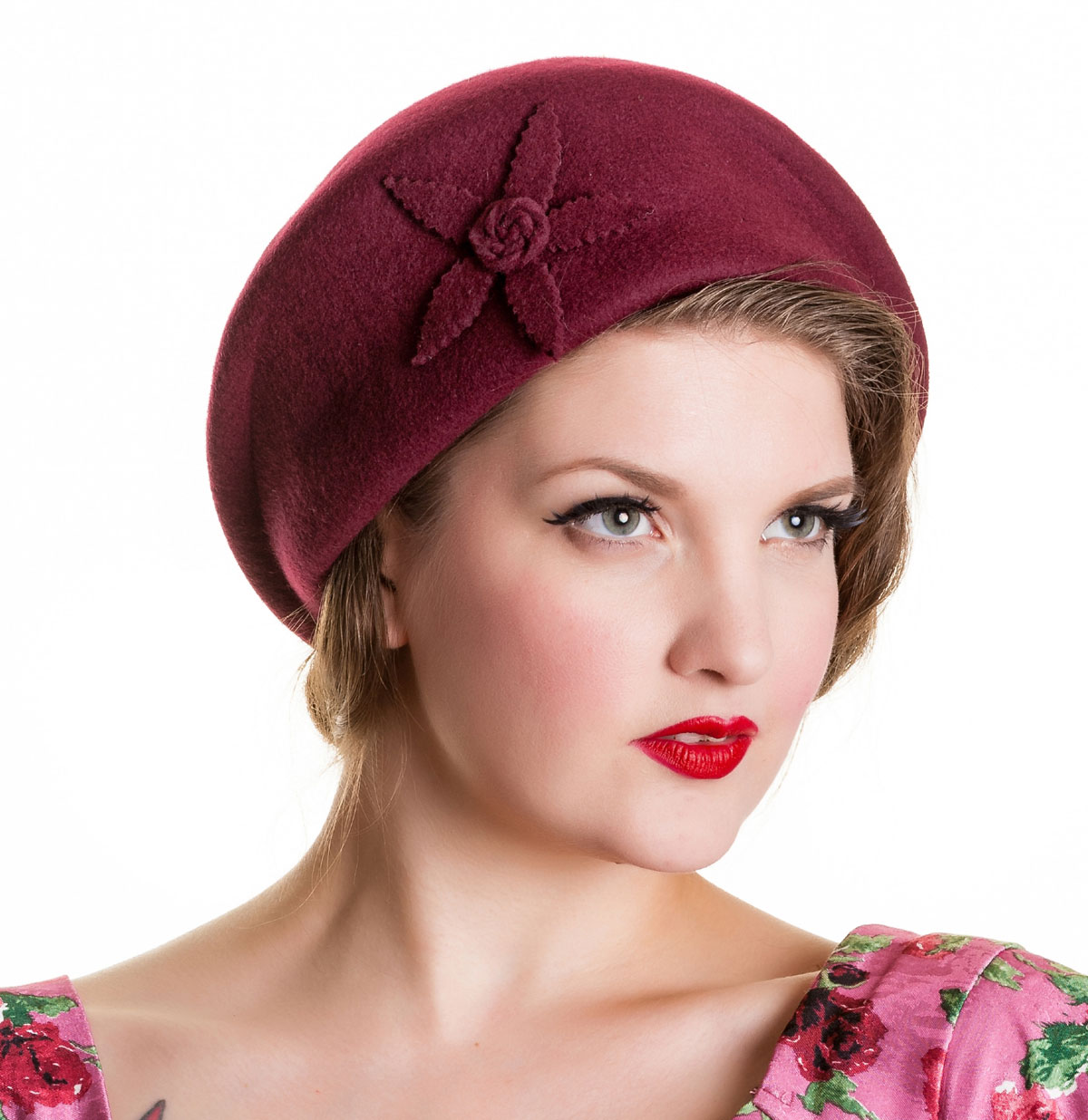 Cora Hat With Flower Burgundy