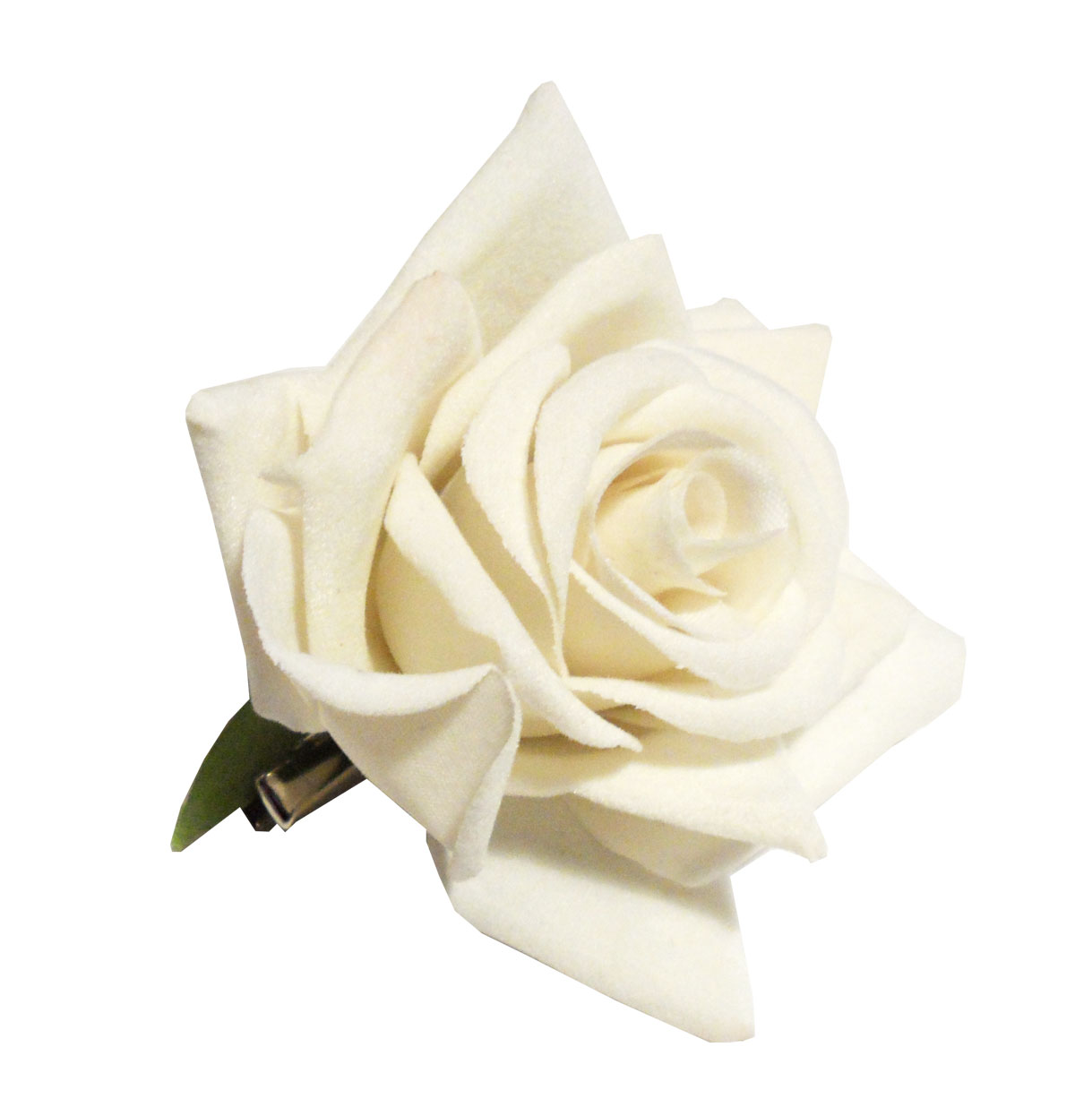Velvet Rose Hair Clip, White