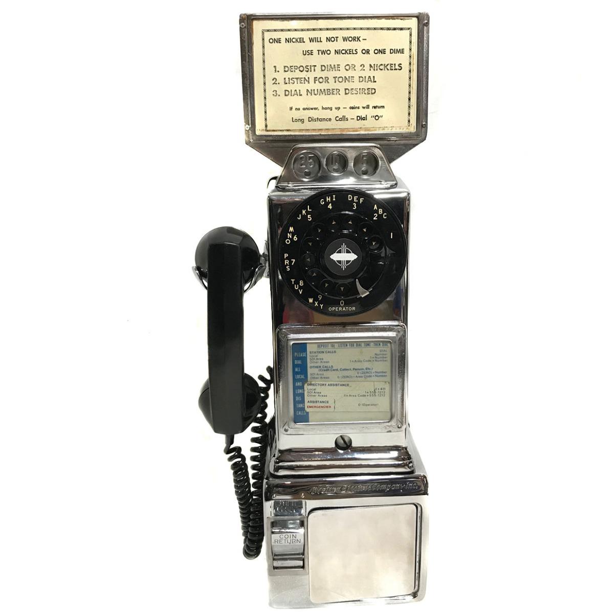 Chrome Wandtelefoon / Payphone 50's
