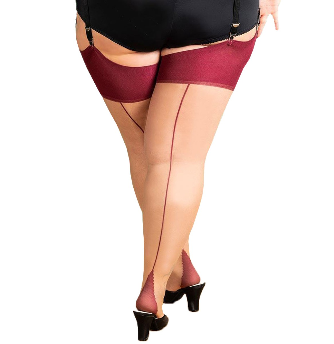 Curve Seamed Stockings Champagne - Claret