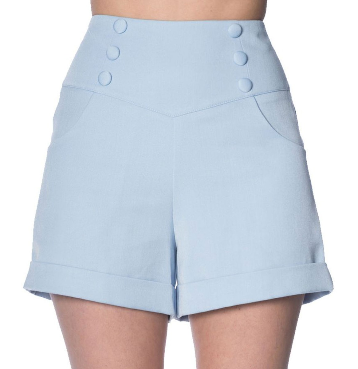 Fiftiesstore Banned Cute As A Button Shorts Baby Blauw