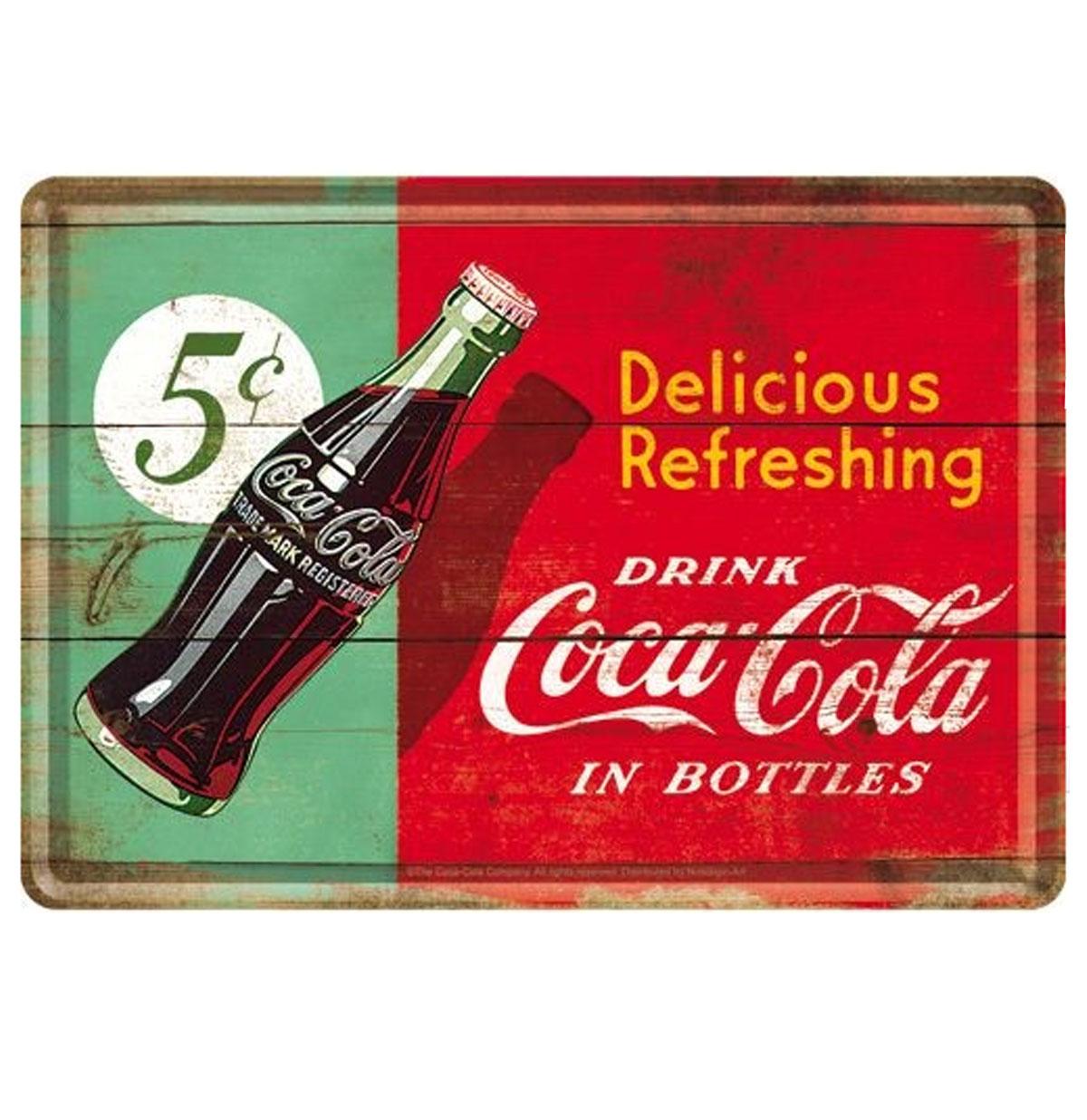 Drink Coca Cola in Bottles Metalen Postkaart