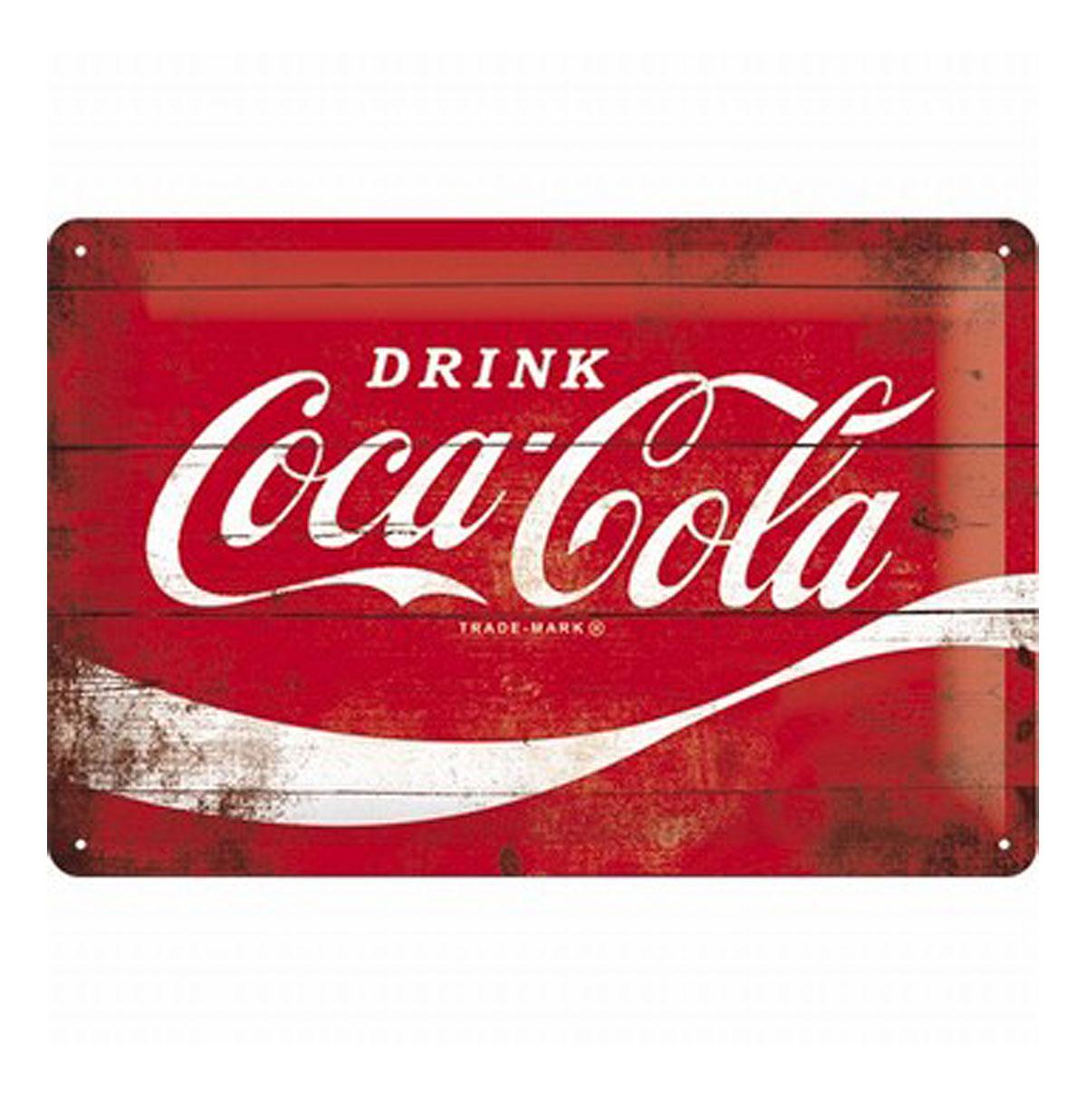 Metal Sign 'Drink Coca-Cola' Wood Look 20 x 30 cm