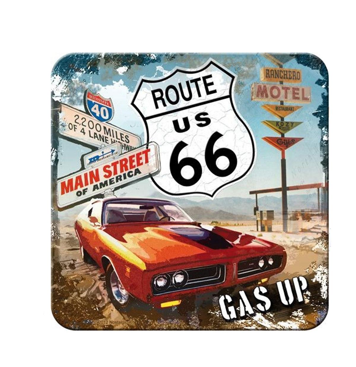 Route 66 Gas Up Metalen Onderzetters Set van 5