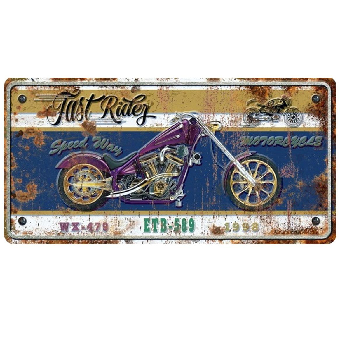 Fast Rider Metalen Bord Met Reliëf - 40 x 20 cm