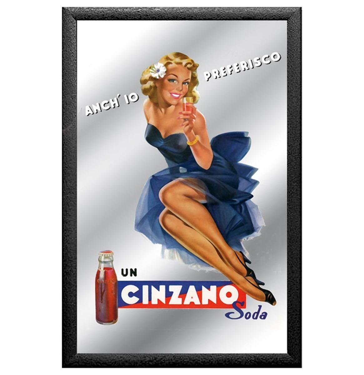 Spiegel Un Cinzano Soda Pin-Up Vrouw