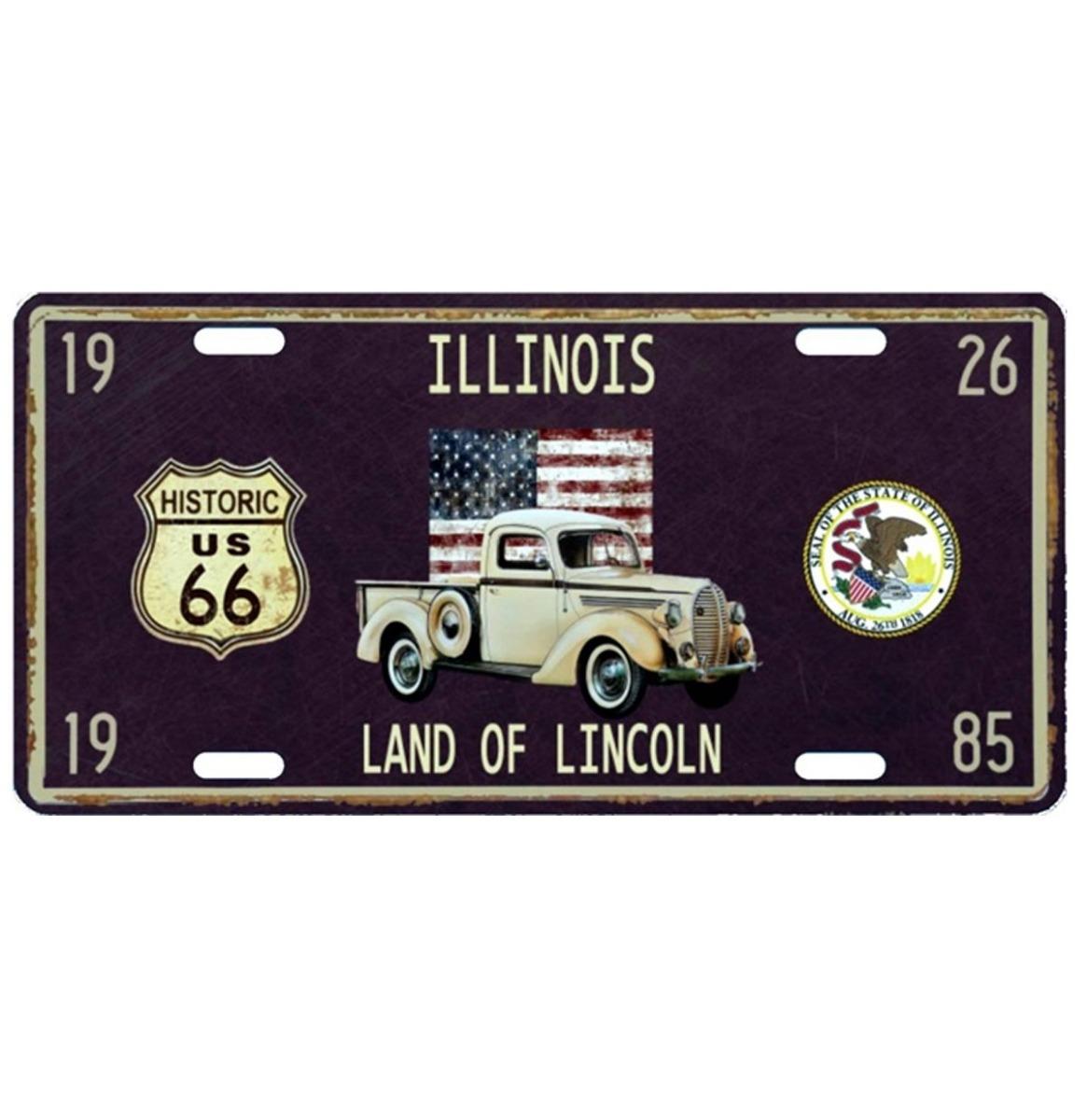 Illinois Land Of Lincoln Metalen Kentekenplaat Met Reliëf