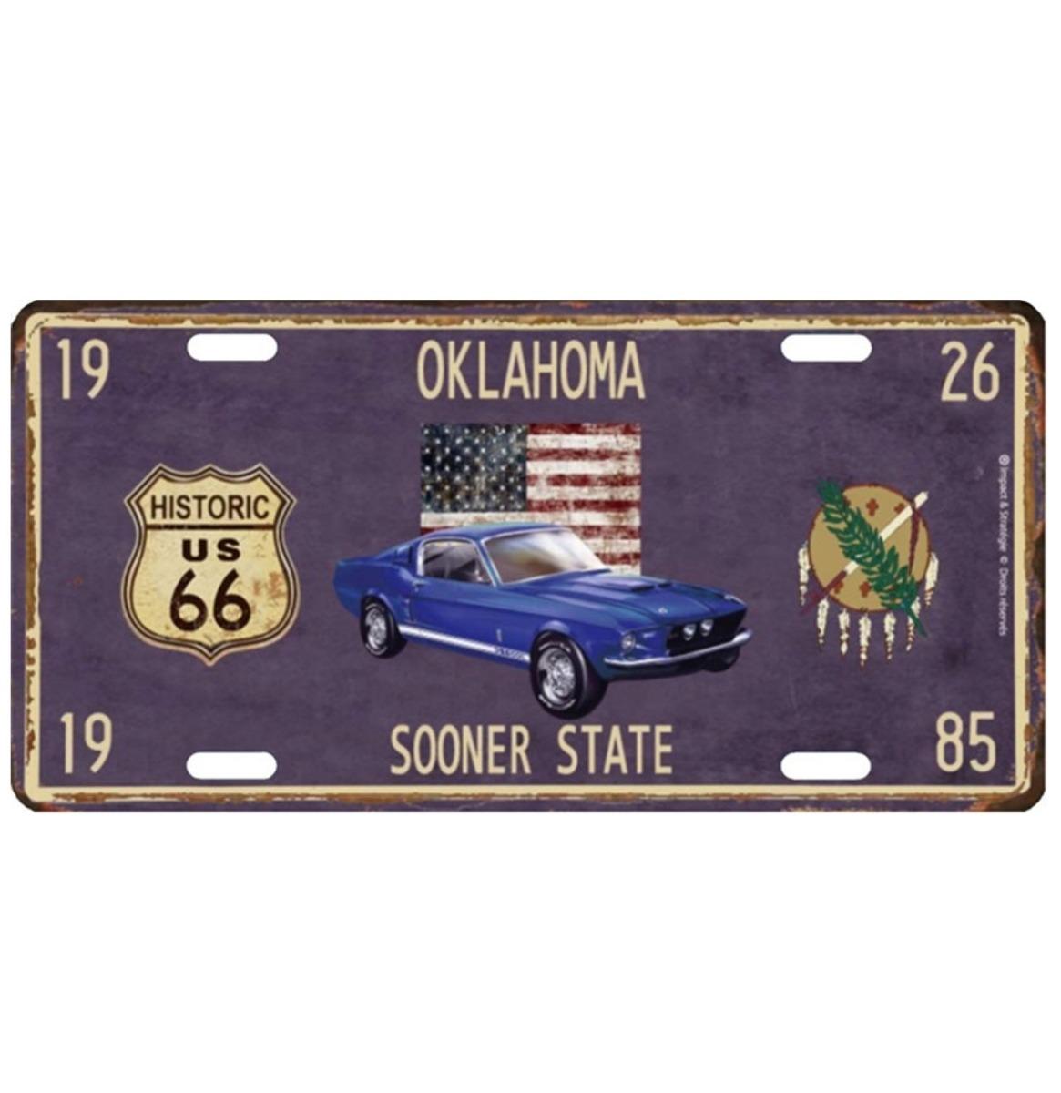 Oklahoma Sooner State Metalen Kentekenplaat Met Reliëf