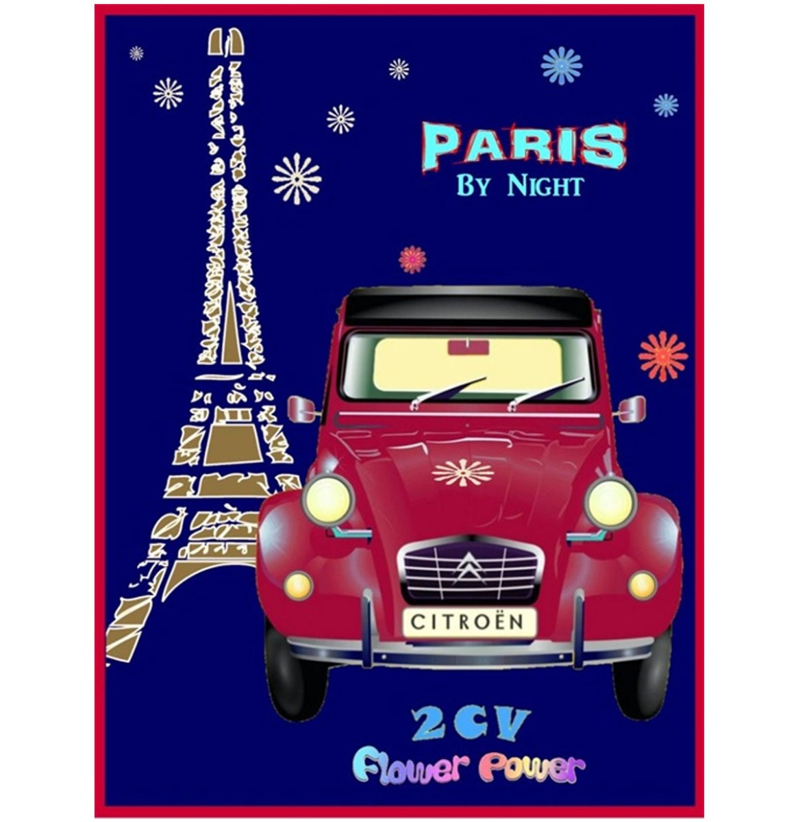 Citroen 2 CV Paris By Night Metalen Bord - 20 x 30 cm
