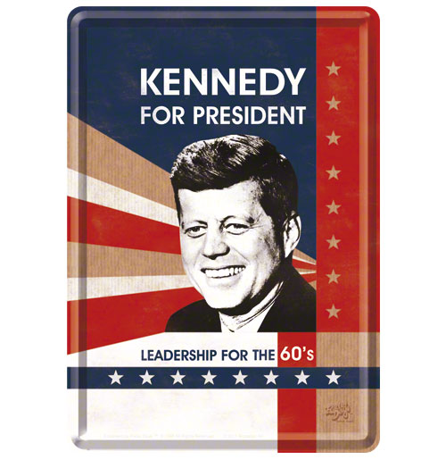 Kennedy For President Metalen Postkaart