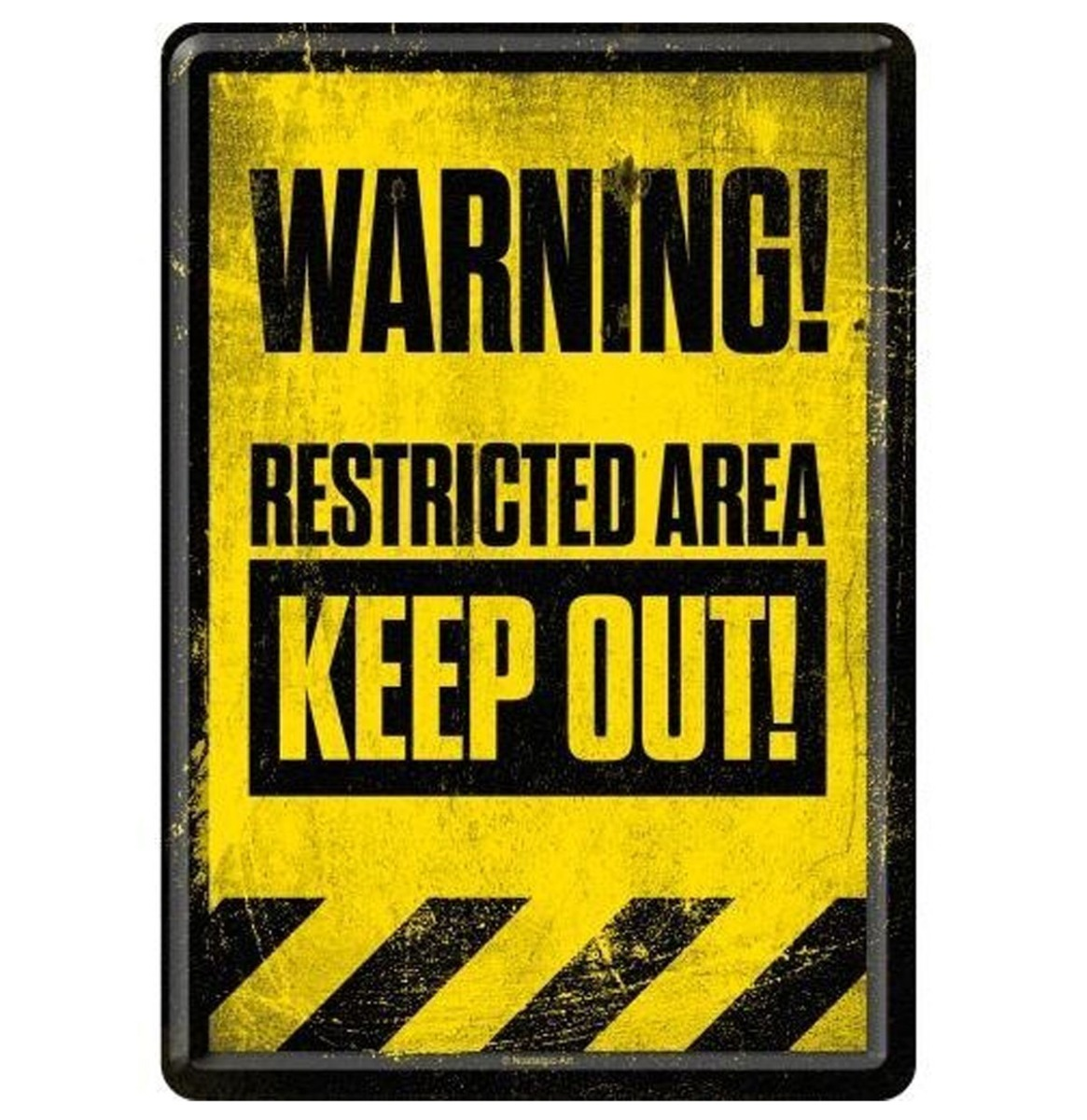 Warning Restricted Area Keep Out Metal Postcard