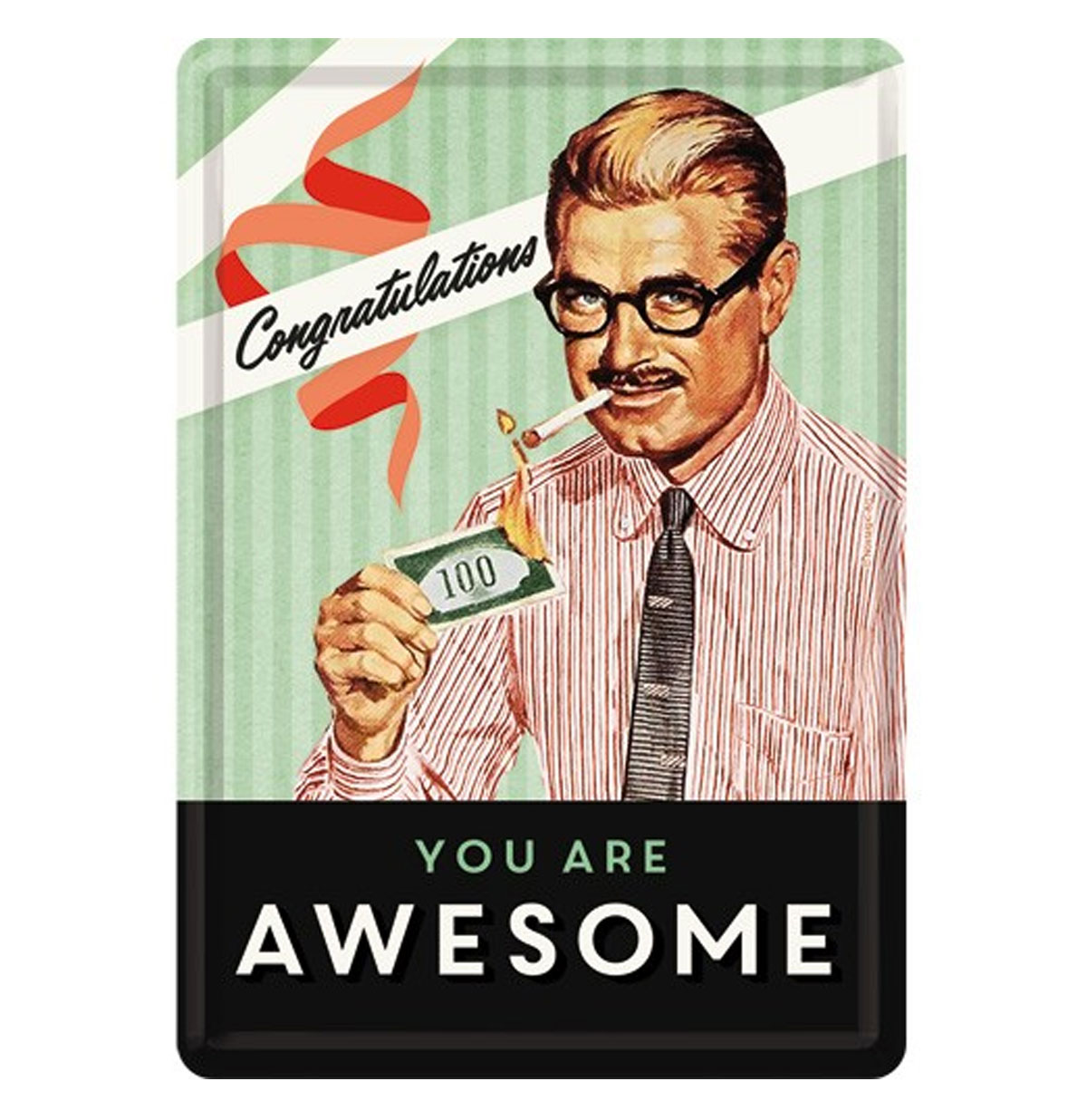 Congratulations You Are Awesome Metalen Postkaart