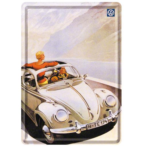 VW Beetle Cabrio Metalen Postkaart