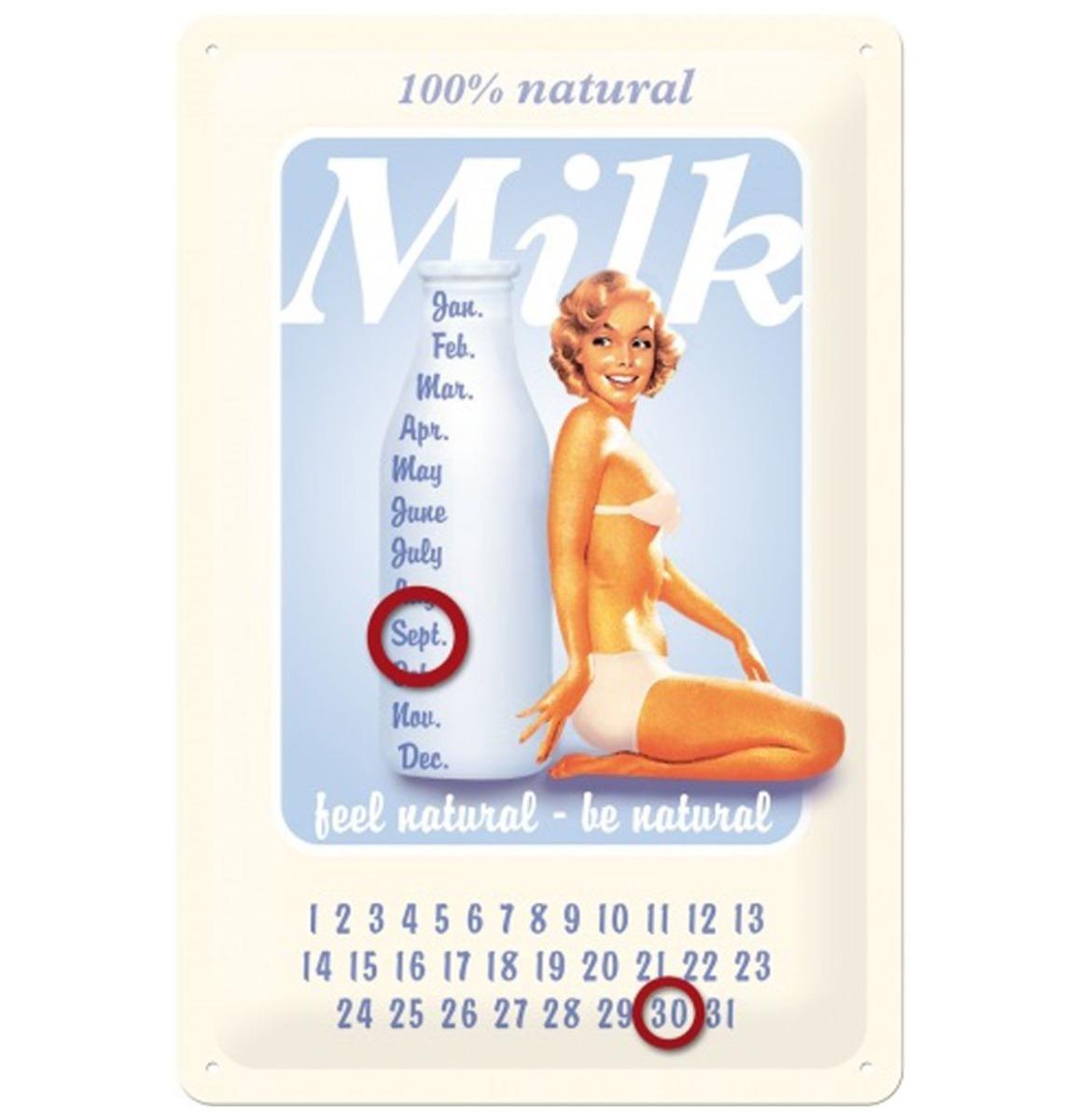 Fiftiesstore Metalen Bord 20 x 30cm Kalender Melk