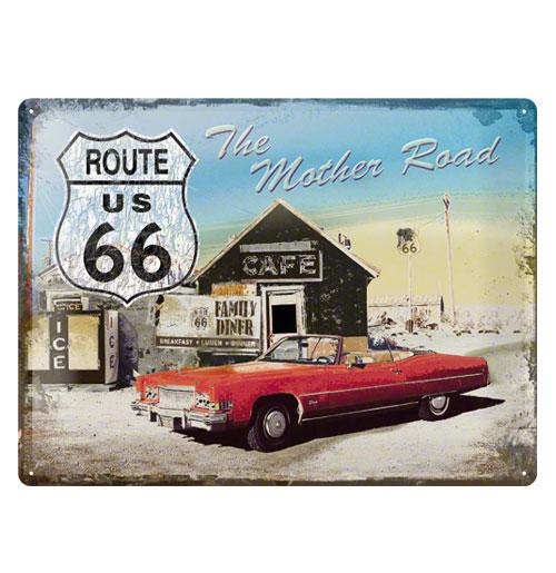 Metalen Plaat 'Route 66-The Mother Road' 30 x 40 cm