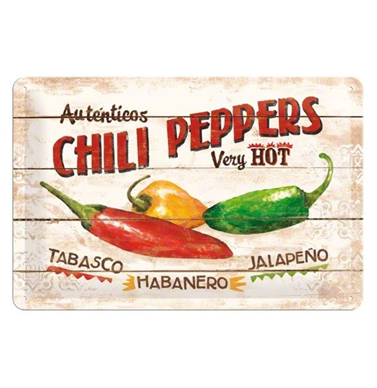 Autenticos Chili Peppers Very Hot Metalen Bord 20 x 30 cm