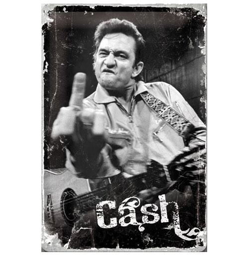 Metalen Plaat Johnny Cash Finger 20 x 30 cm