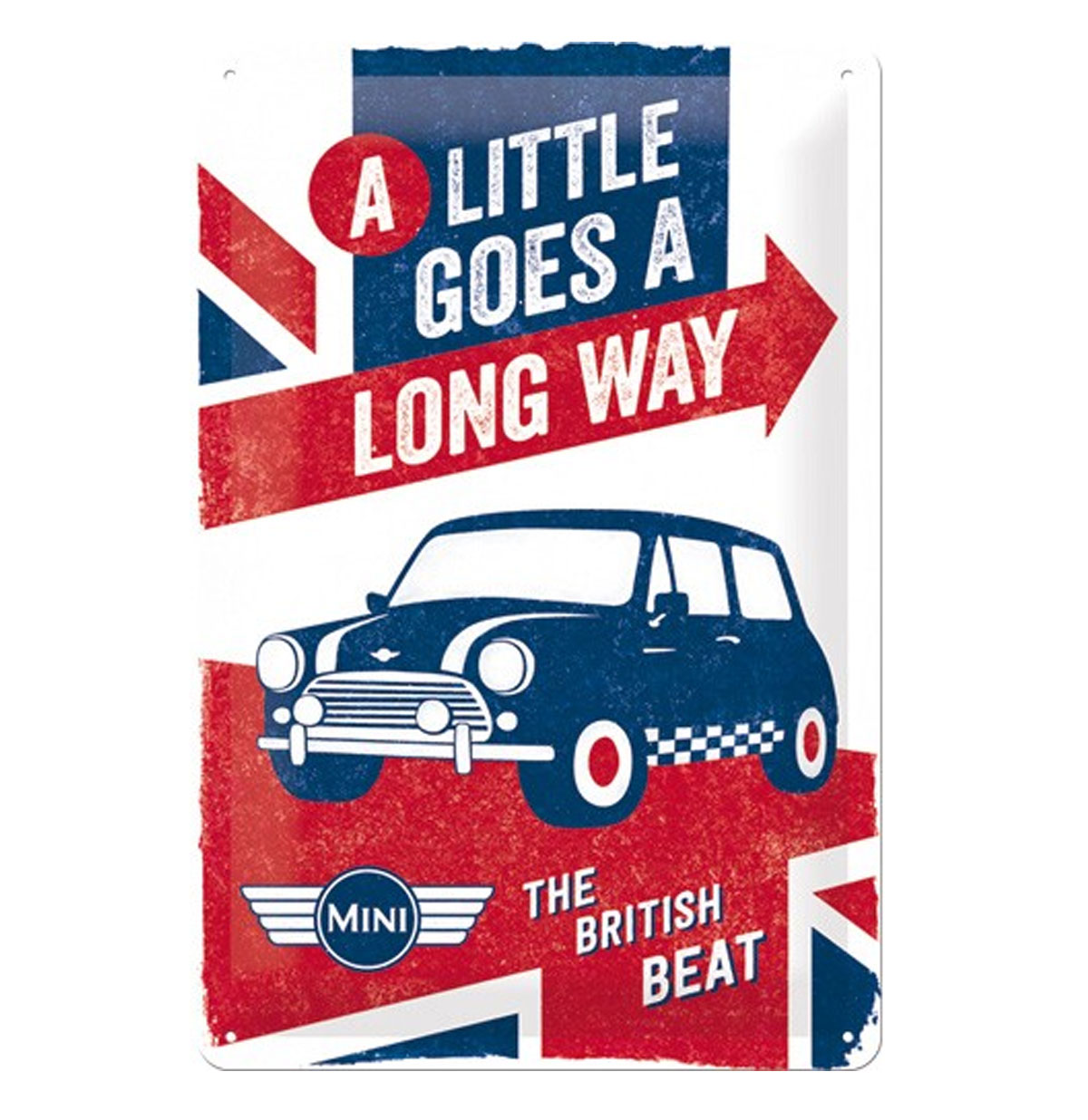 Mini: A Little Goes A Long Way Tinnen Bordje