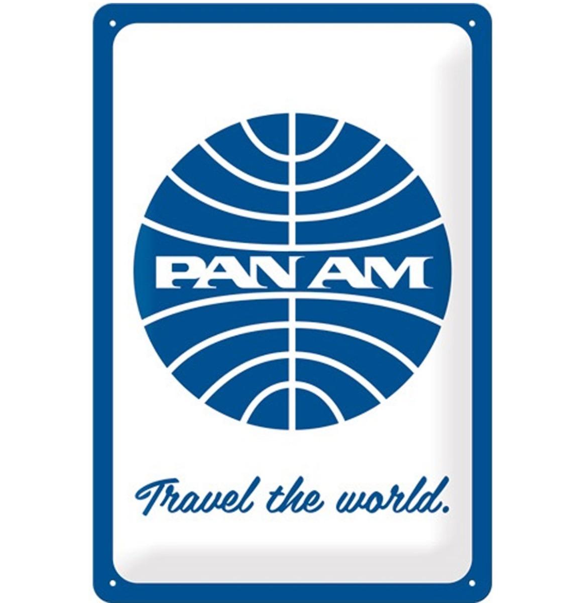 Pan Am Travel The World Metalen Bord - 20 x 30 cm