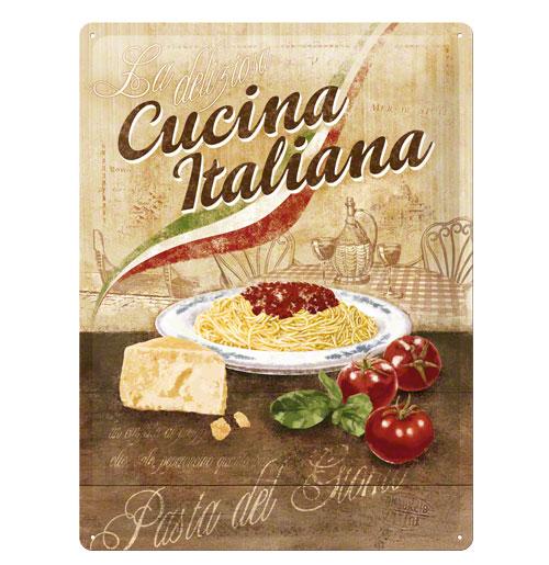 Metalen Plaat 'Cucina Italiana' 30 x 40 cm