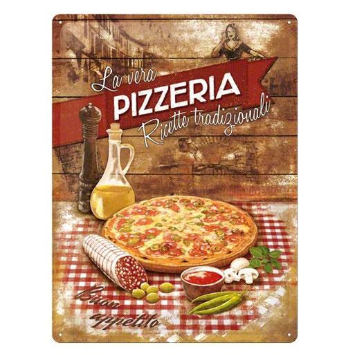 Metalen Plaat 'Pizzeria' 30 x 40 cm