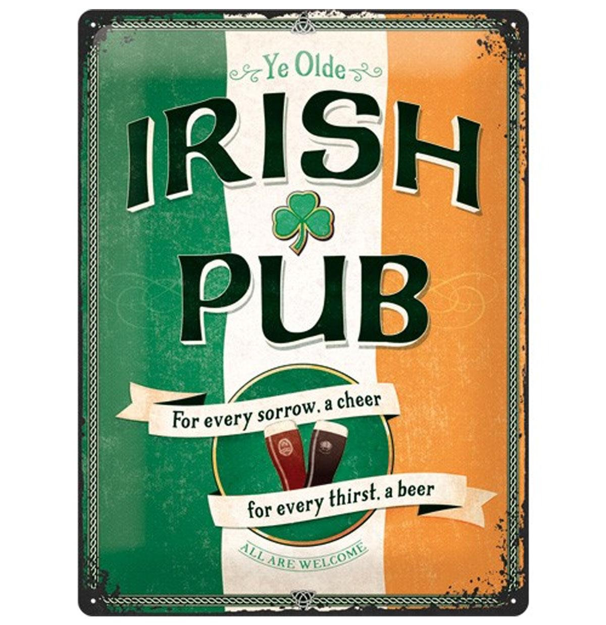 Ye Olde Irish Pub Metalen Bord 30 x 40 cm