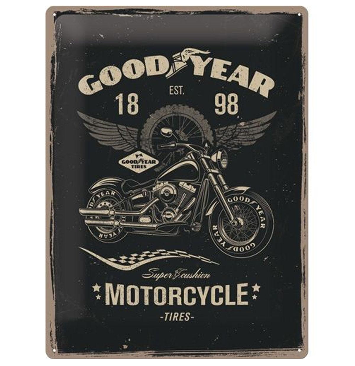 Tin Sign 'Good Year Motorcycle' 30 x 40 cm