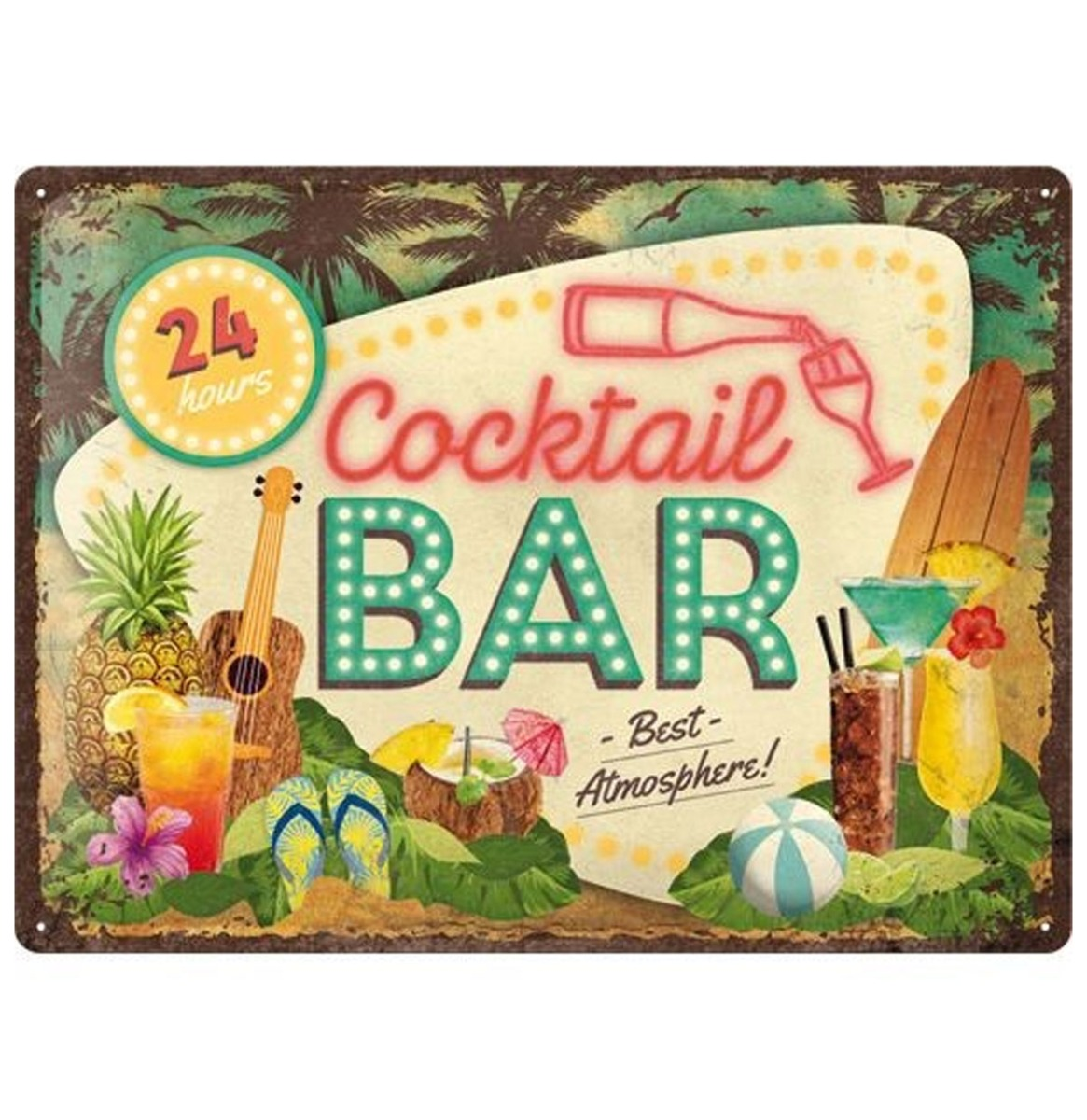 Cocktail Bar Best Atmosphere Retro Metalen Bord 30 x 40 cm
