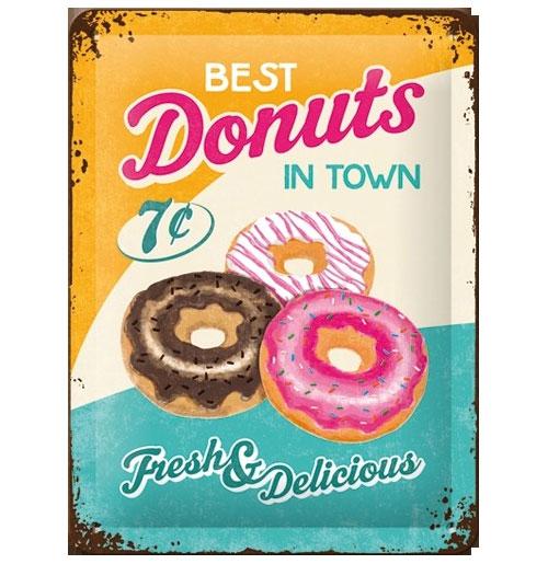Metalen Plaat Best Donuts in Town 15 x 20 cm