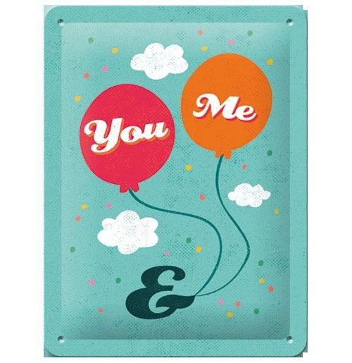 Metalen Plaat You and Me 15 x 20 cm