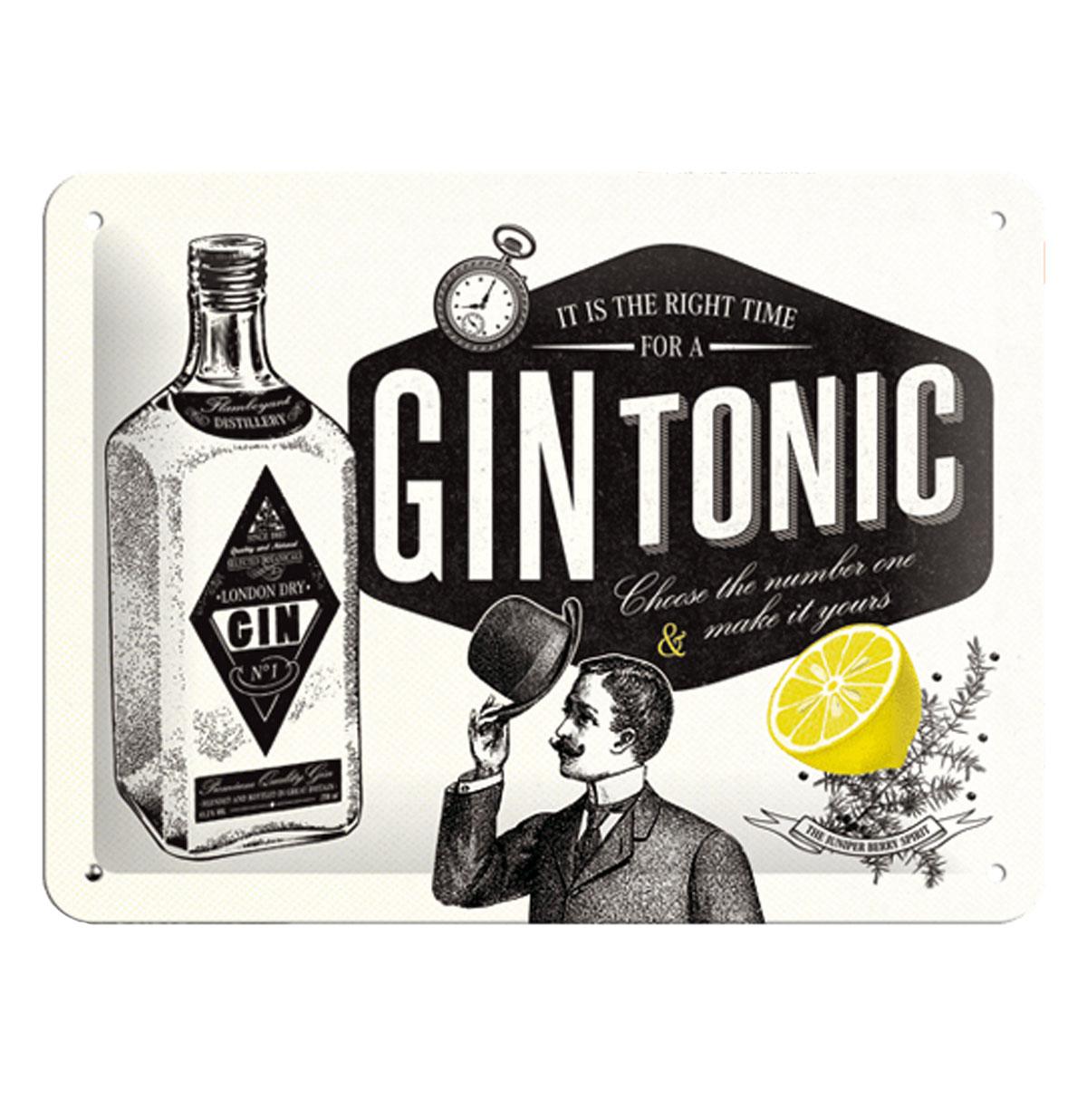 Tin Sign 'Gin Tonic' 15 x 20 cm