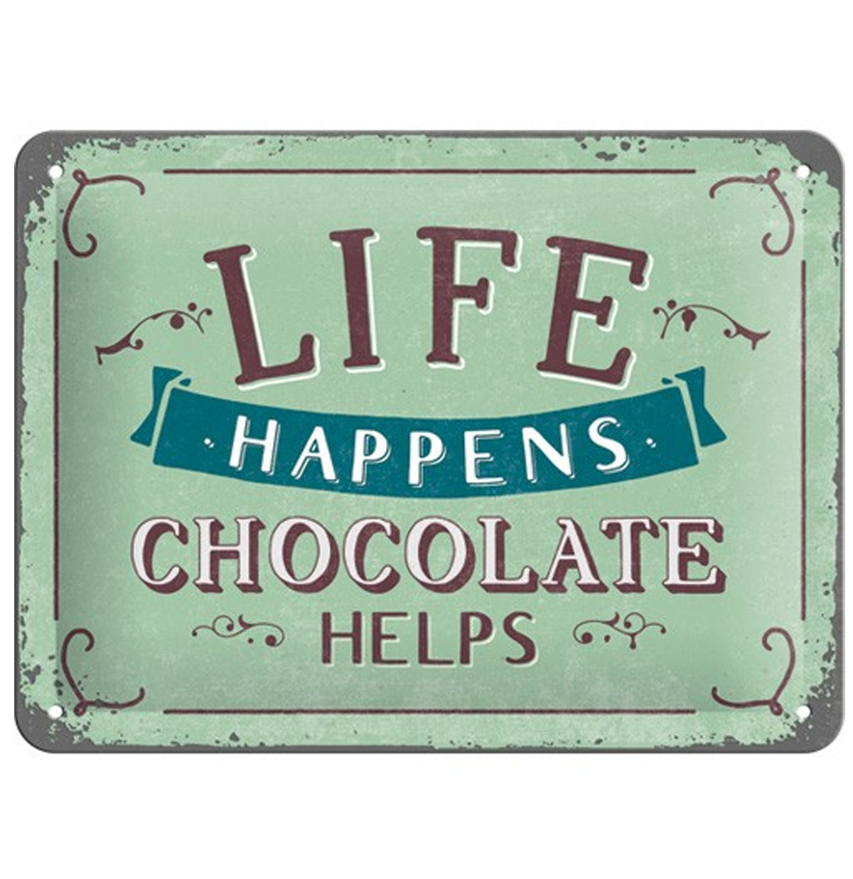 Life Happens, Chocolate Helps Metalen Bord