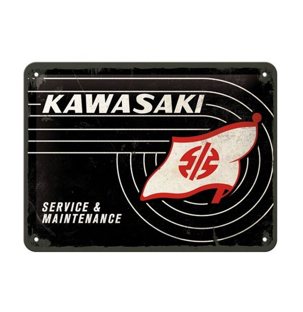 Kawasaki Service & Maintenence Metalen Bord Met Reliëf 15 x 20 cm