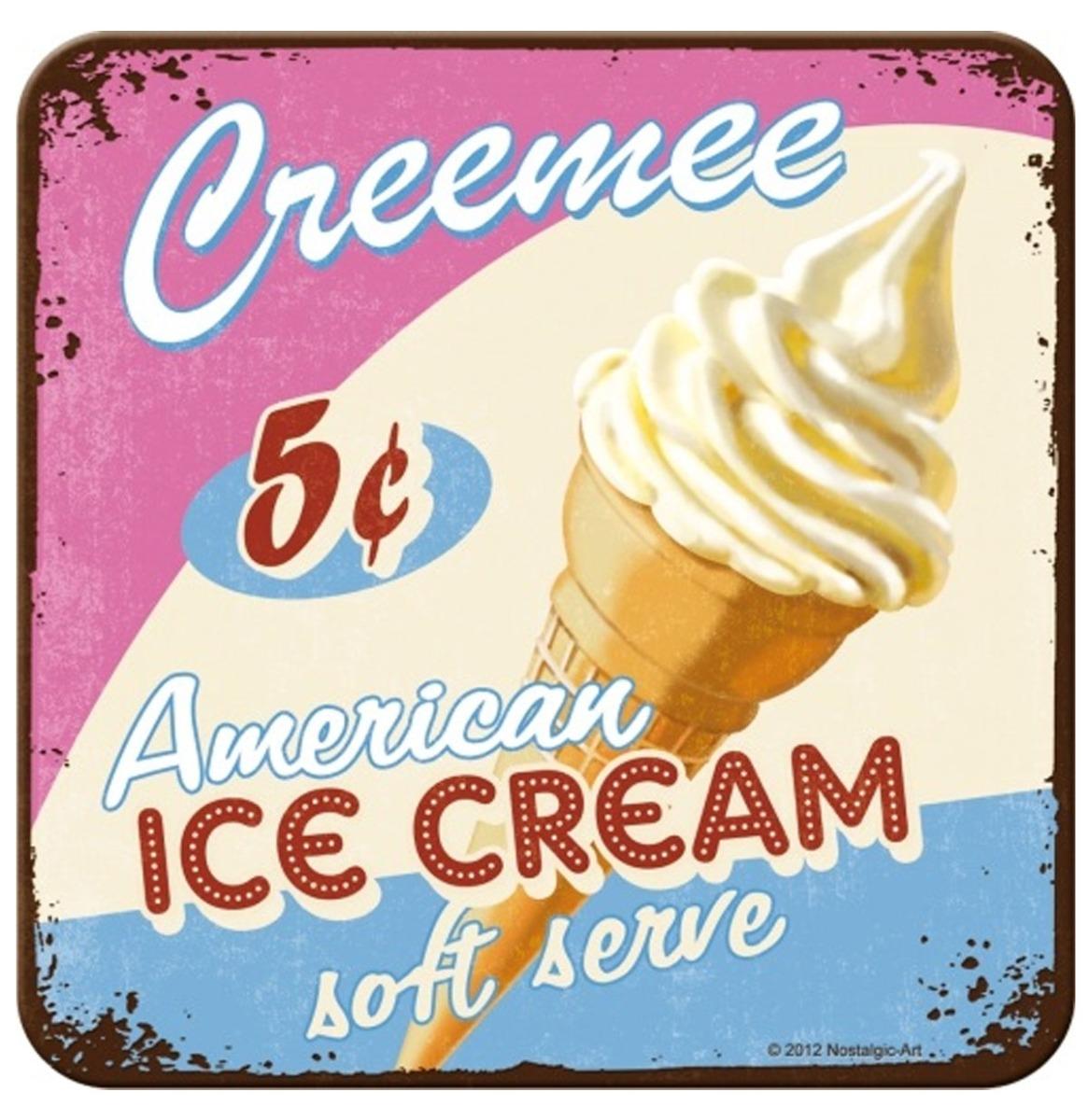 Creemee American Ice Cream Metalen Onderzetters - Set Van 5