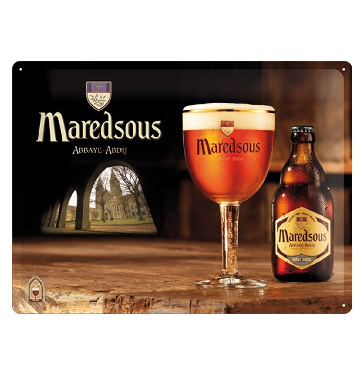 Maredsous Abdijbier Belgisch Bier Metalen Bord 30 x 40 cm