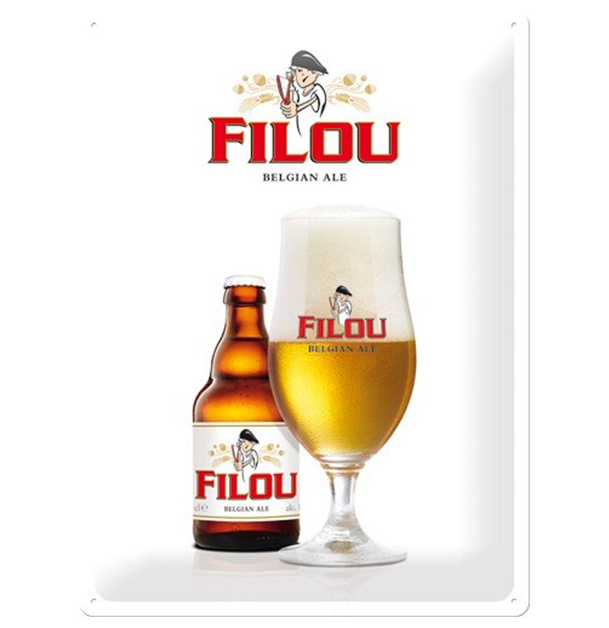 Filou Belgian Ale Bier Metalen Bord 30 x 40 cm