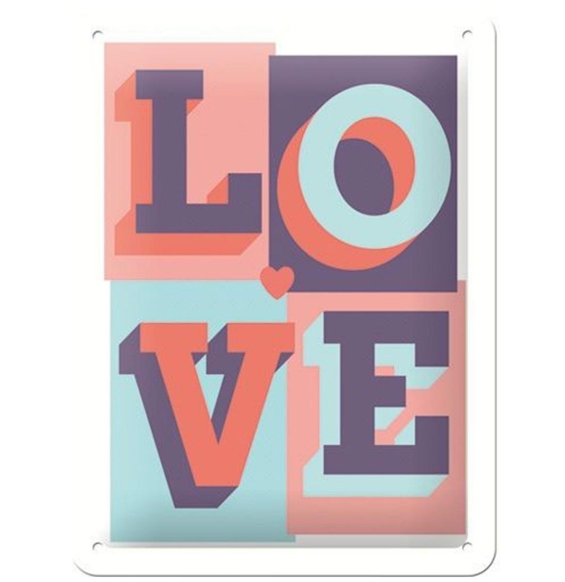 Love Embossed Relief Metalen Bord 15 x 20 cm