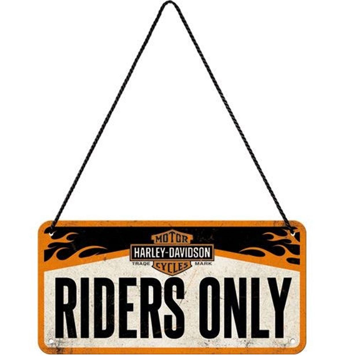 Harley-Davidson Riders Only Hangend Metalen Bord 10 x 20 cm